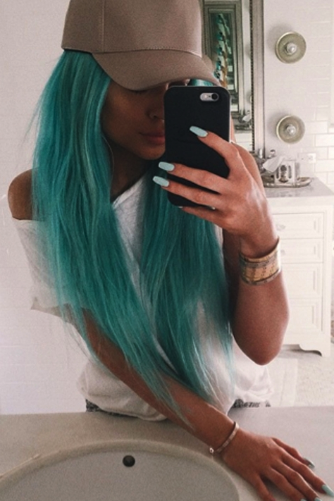 Kylie debuted her aqua locks at Coachella in 2015