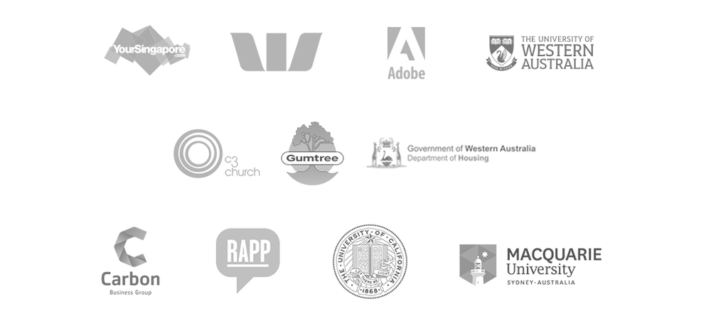 singapore, westpac, adobe, UWA, Macquarie University, gumtree, Dept of housing, Carbon Group, C3 church