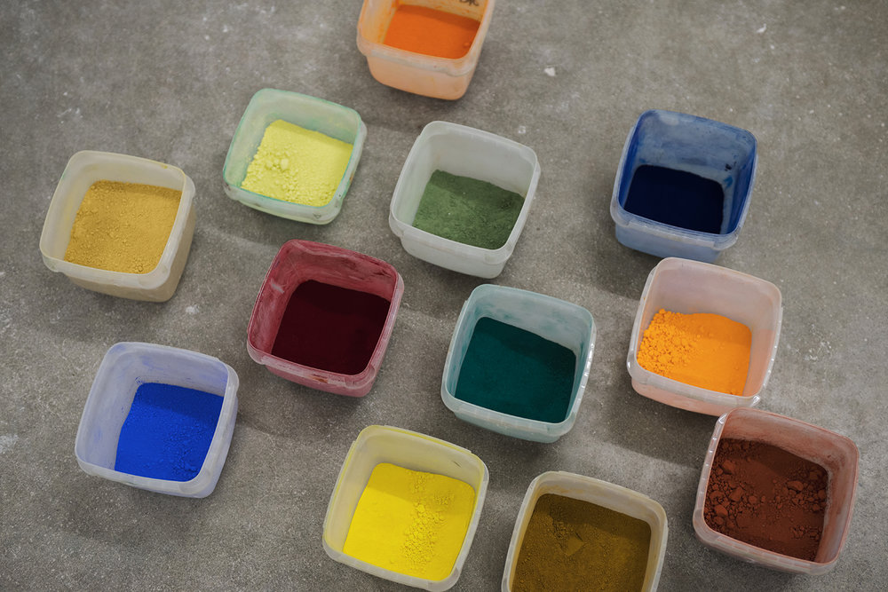 Pigmenter til bruk i freskomaleri. Foto: Anne Valeur.