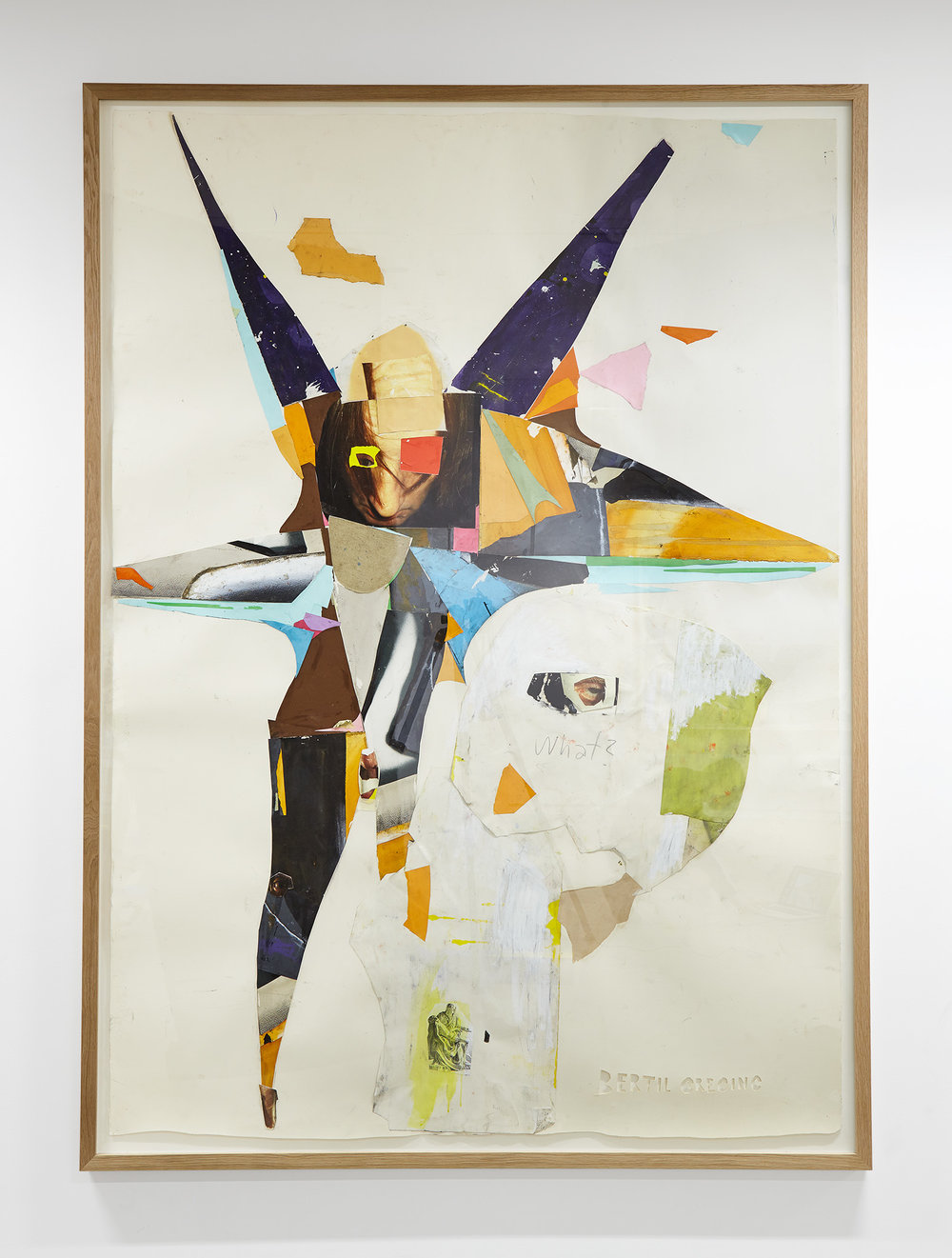 What?,  2016 collage on paper 227 x 165 cm