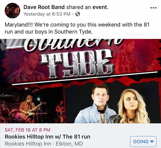 Maryland!!! Where you at!!! • • #daverootband #81run #southerntyde #rookies #rookieshilltopinn #independentartist #independent #unsignedartist #unsigned #country #countrymusic #countrypop #countrypopmusic #popcountry #brocountry #pop #popmusic #rock #rockmusic #countryrock #countryrockmusic #rockcountry #follow #followus