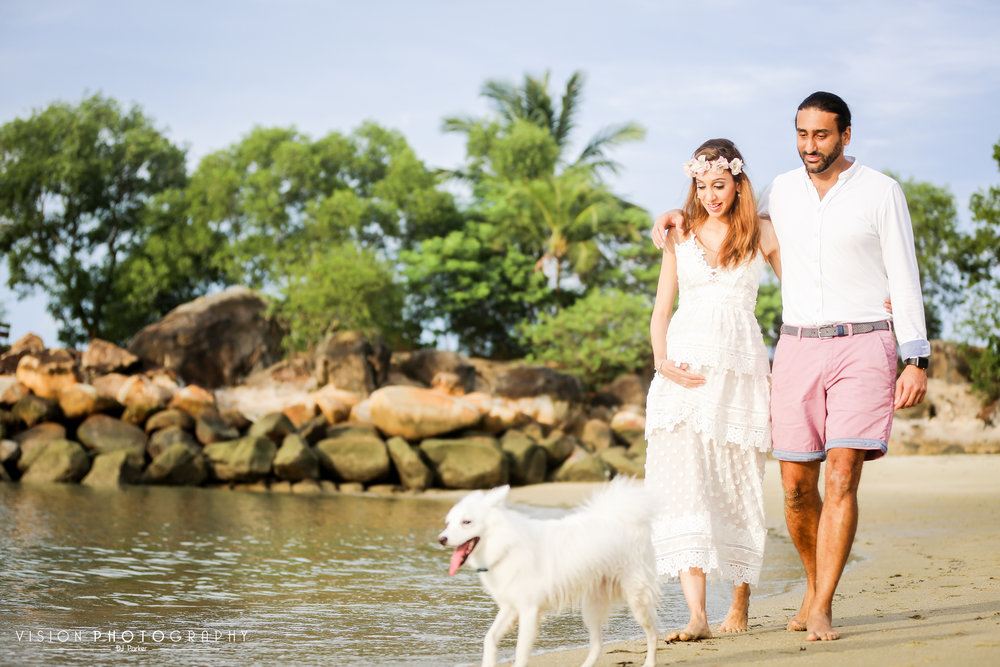 Outdoor maternity sentosa with dog