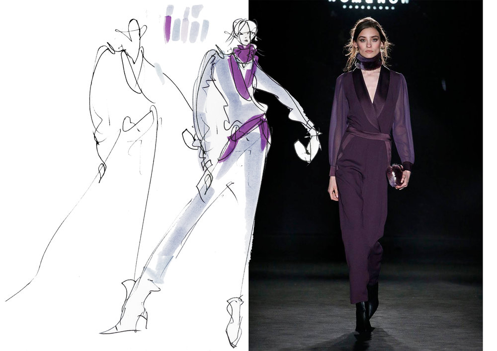 Live sketch from Barcelona Fashion Week -invited by designer WOM&NOW