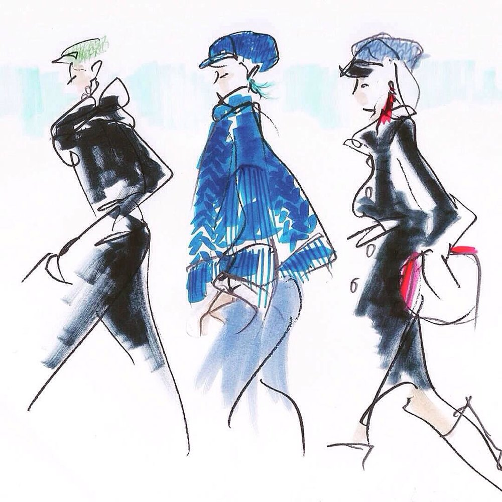Live sketches with some added colour and detail -Lola Casademunt FW18 show