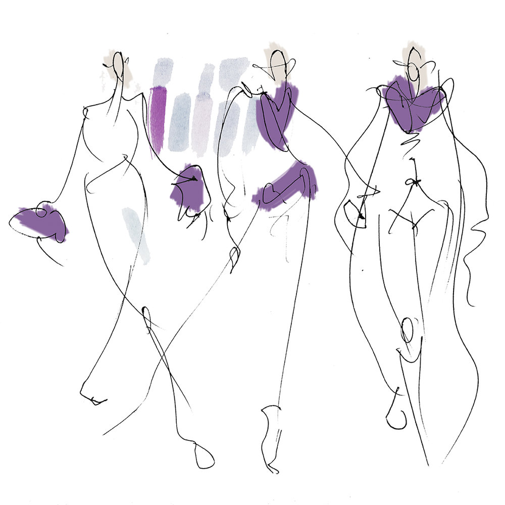 Working with colour & quick line sketches -WOMANDNOW FW18 show