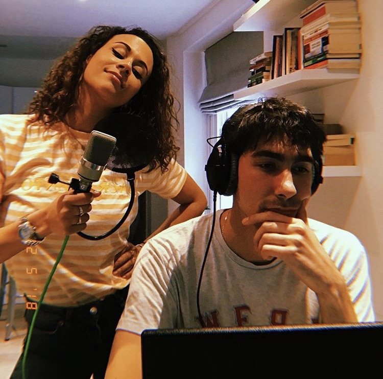 Alice D in the recording studio working on her new EP with producer Oscar Scheller  Image: courtesy of Alice D