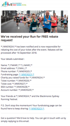 Email 2: Triggered when a runner claims rebate.