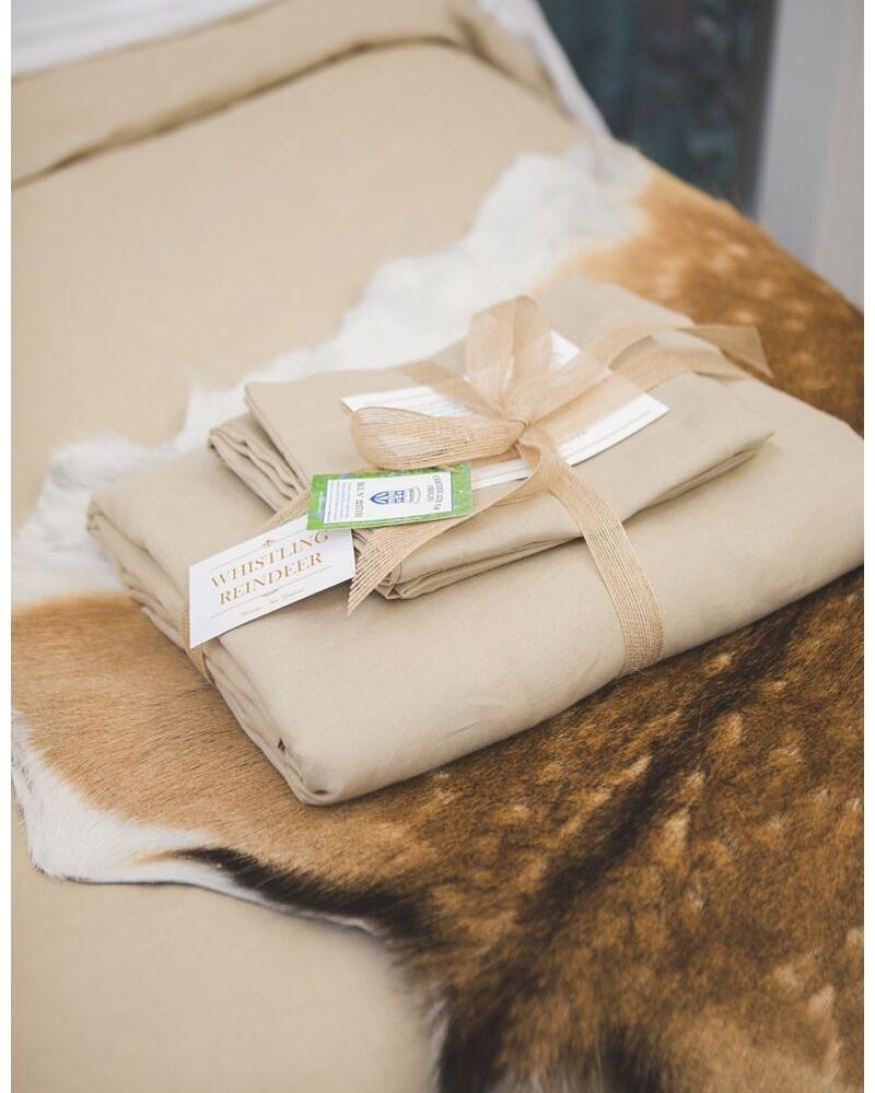 Belgian Linen Bedding on Fallow Deer Hide