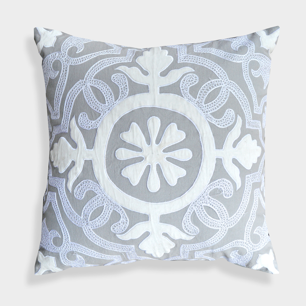 High End Designer Throw Pillows Part - 41: A1HC High End Designer Laverna 20 X 20 Grey Floral Pillow