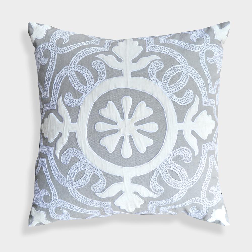 High End Designer Throw Pillows Part - 47: A1HC High End Designer Laverna 20 X 20 Grey Floral Pillow