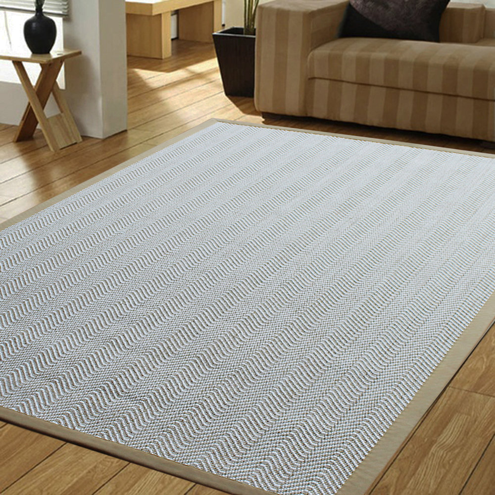 a1hc indoor hand finished sisal wool rug design with cotton border herringbone sahara color white natural new arrival