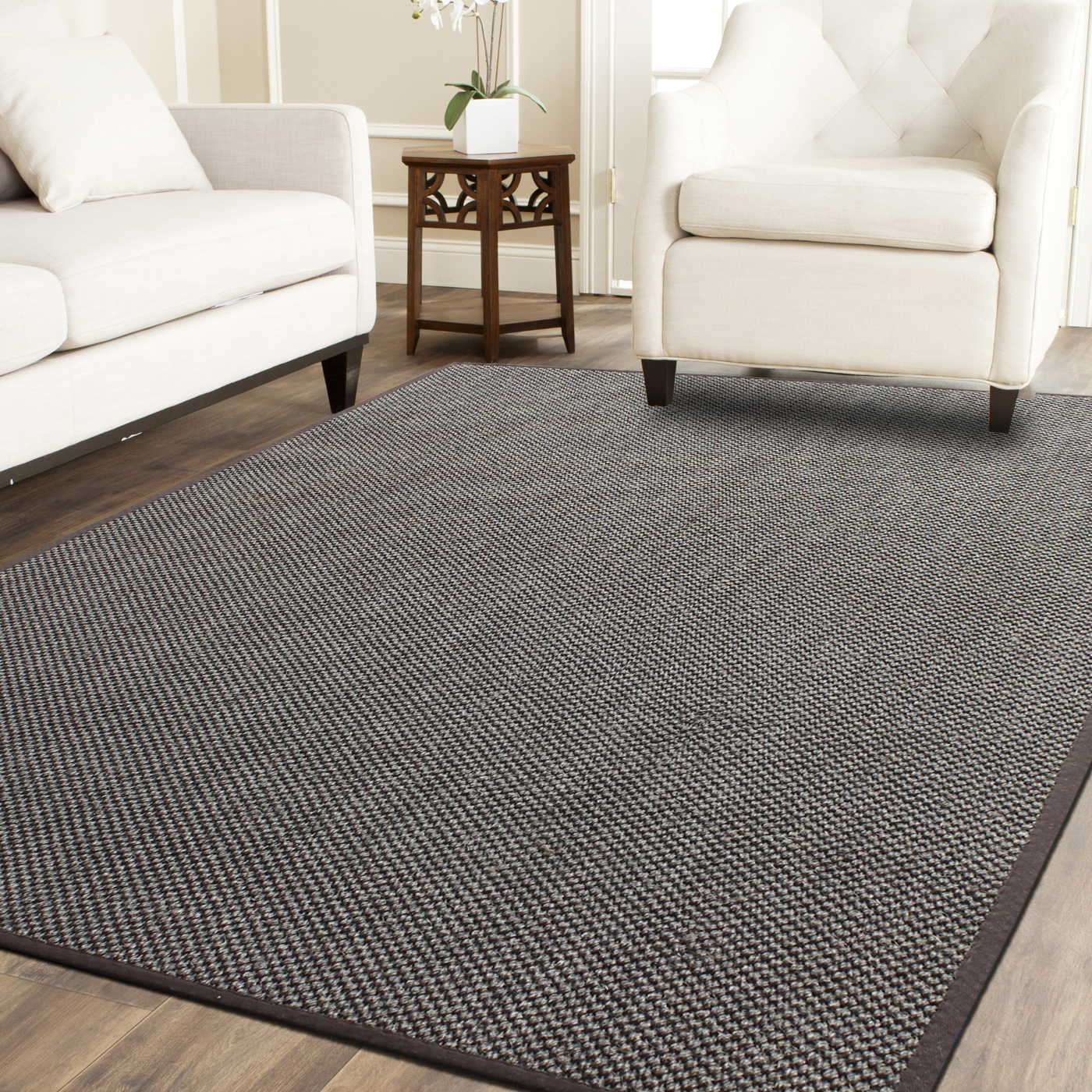 A1HC Indoor Hand Finished Natural Sisal Rug With Cotton Border Desgn Tiger  Eye Color Mix Brown