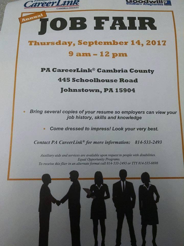 cambria county pa career link annual job fair cambria county