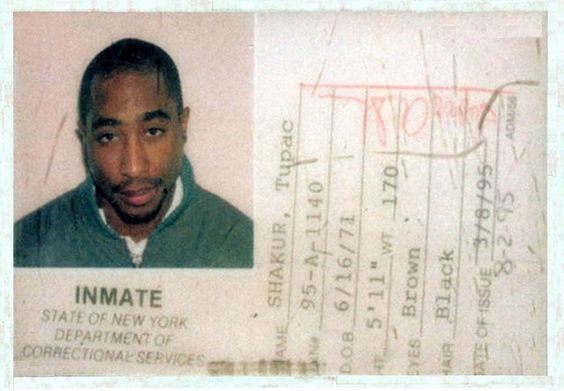 Actual photo : Tupac Shakur's New York State  Department Of Corrections ID