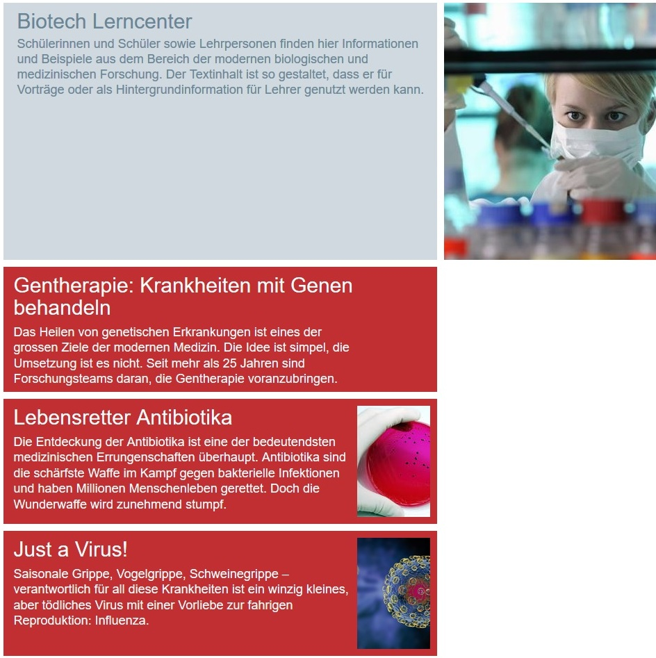 Information on the Biotech Learning Center for teachers and students.