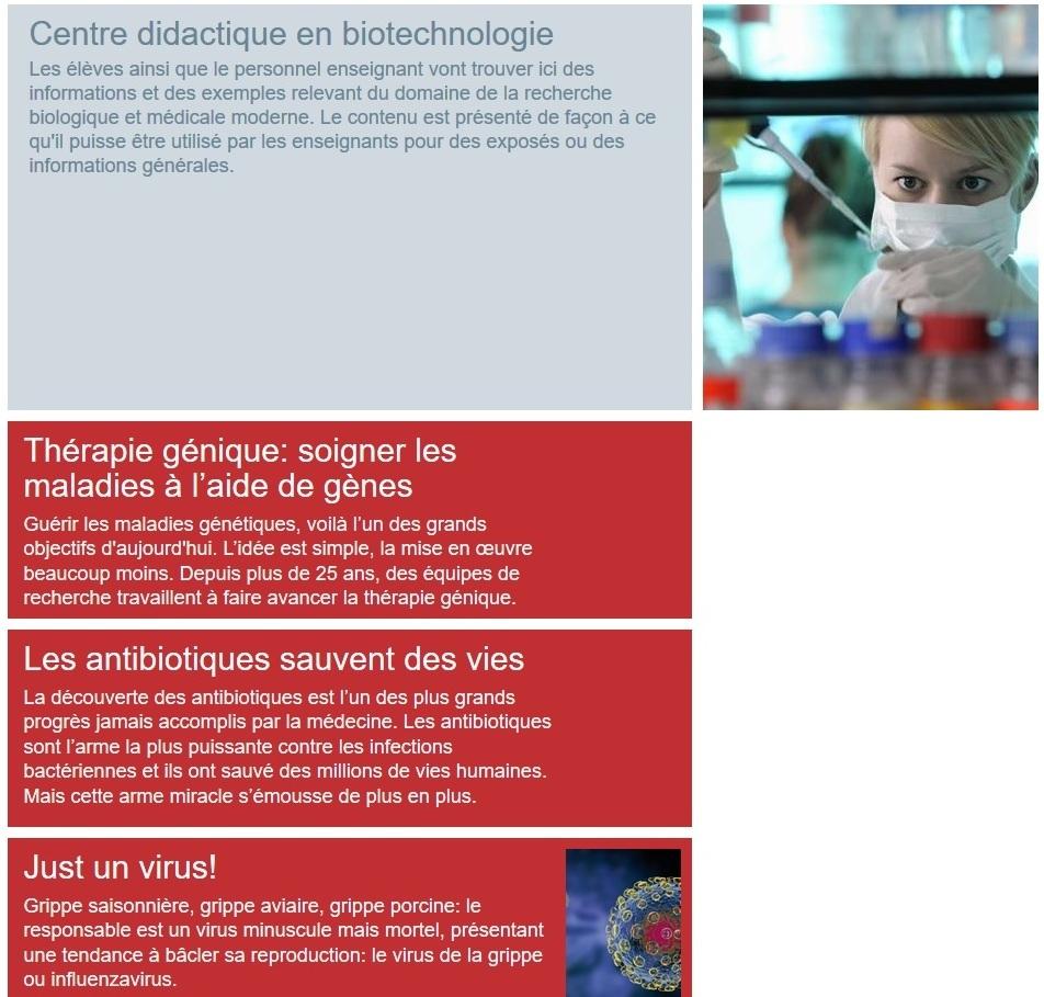Informations pour les enseignants et les élèves dans le Centre didactique en biotechnologie.