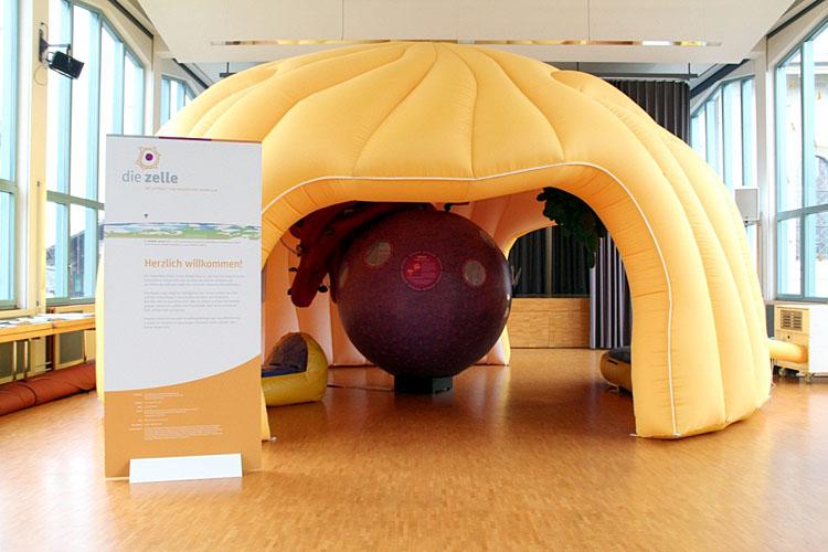 La «cellule géante» est une maquette de cellule humaine agrandie 300 000 fois.