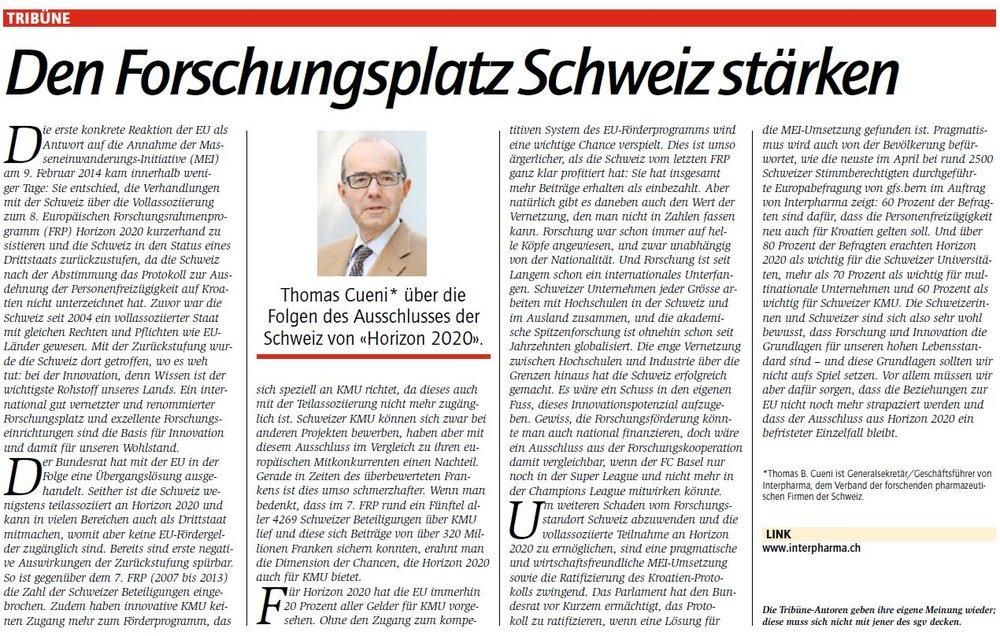 Tribune de Thomas Cueni, secrétaire général d'Interpharma, dans la Gewerbezeitung du 8/7/2016 ©Schweizerische Gewerbezeitung