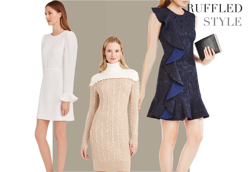Ruffles and flounces were seen in all the designer collections and are featured on sleeves, hemlines, cuffs, and necklines. Look for a ruffle detail to add that fashion flair.     BCBG Maxazria Blue Ruffle Dress    Club Monaco White Ruffle Dress    Club Monaco Ruffle Sweater Dress