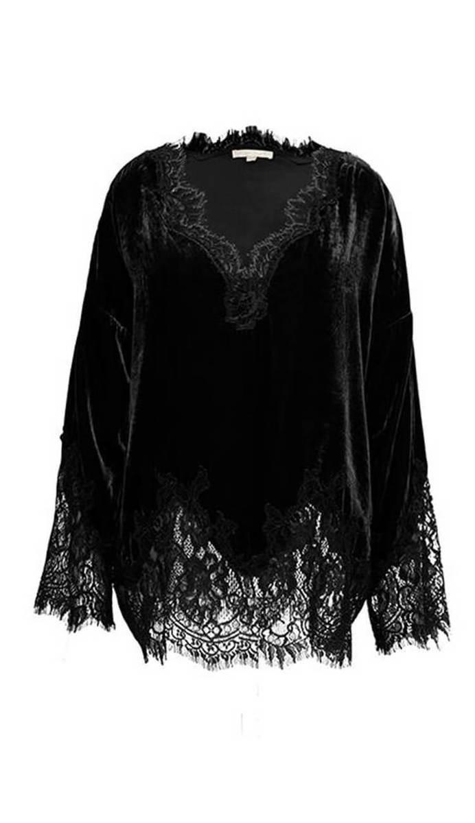 Gold Hawk Anastacia Wedge Velvet & Lace Top -