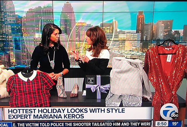 Always fun visiting my friends @wxyzdetroit and talking #holidaystyle with @anuprakashtv she's the best! Sparkle and shine, mini dresses, faux fur, plaid, and python/leopard shoes make the holiday trend list. Check out the sequin joggers with cashmere sweater @paulaandchlo for a great casual chic look. #trendspotter #holidayoutfit #whattowear #fashionblogger #holidaystyle #partydress #sequindress #fauxfurcoat #leopardshoes #pythonboots @stevemadden @sundanceshoes @shoplexidrew