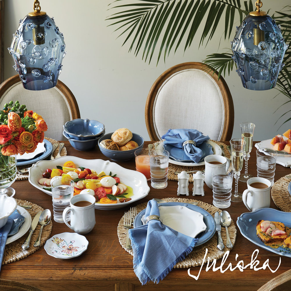 Juliska Gifts With Purchase - Enjoy gorgeous new additions in glassware, ceramics, lighting, acrylic and melamine!We'll be offering gifts with purchase, a raffle prize, and we've even brought a special vase out of retirement for the occasion - a Morning Sun anniversary exclusive!