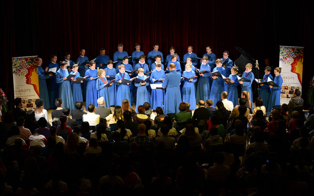 The choir performing in Beijing