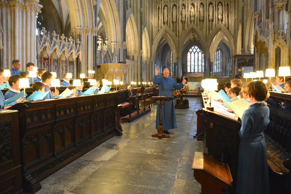 Matthew Owens conducts the rehearsal of Judith Weir's new work as the composer looks on