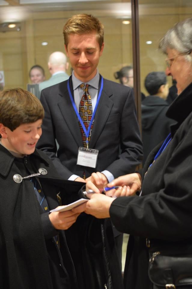 Choristers Ross gets Judith Bingham's autograph