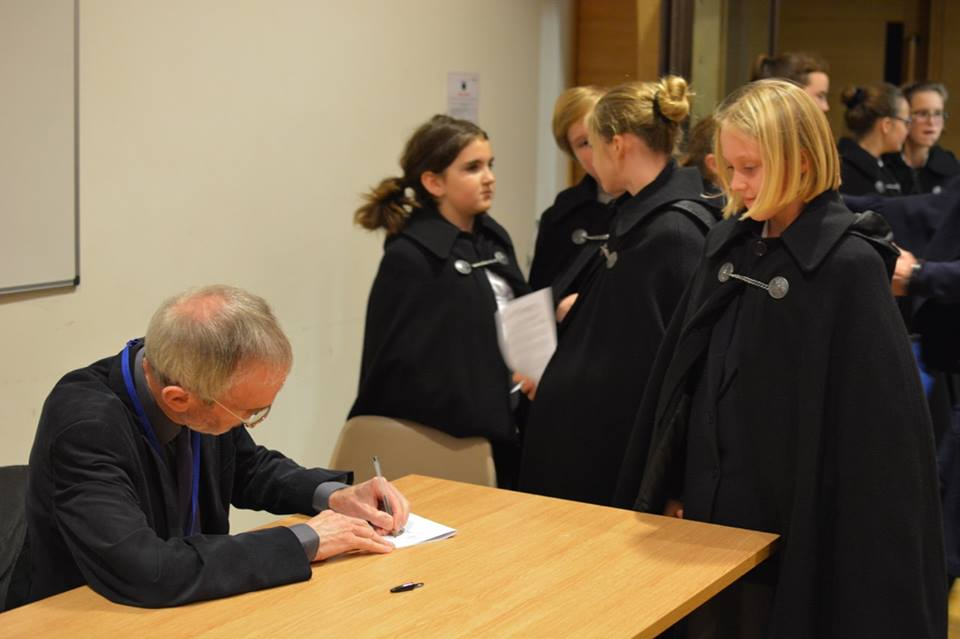 The long line of choristers with autograph requests - Howard Skempton had his work cut out!