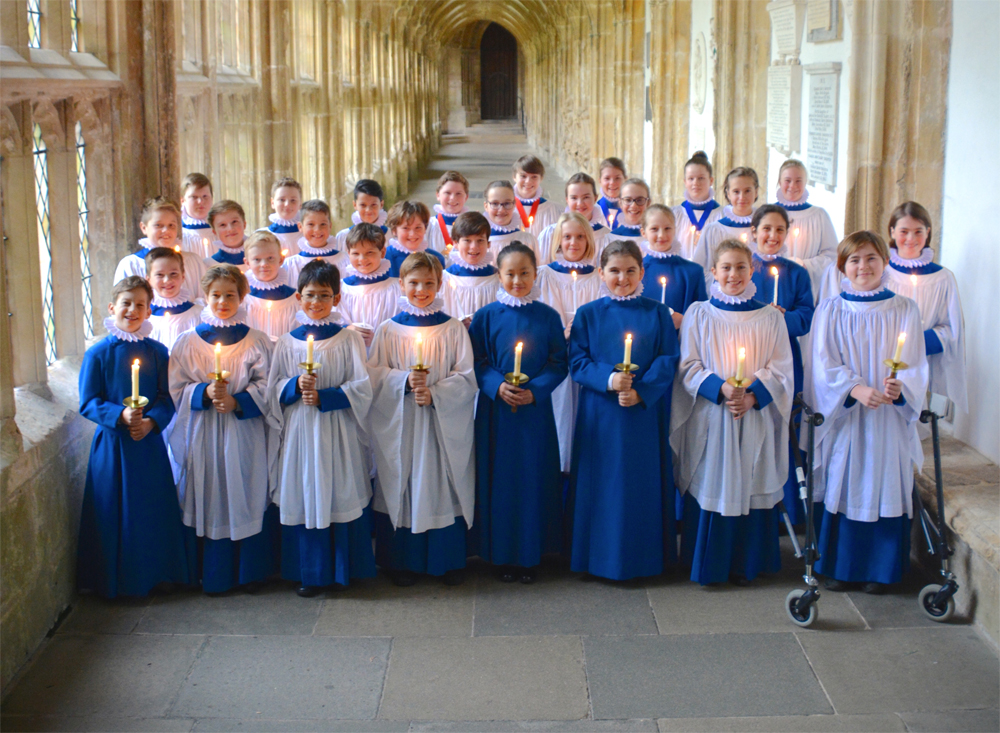 The choristers looking resplendent in their new cassocks