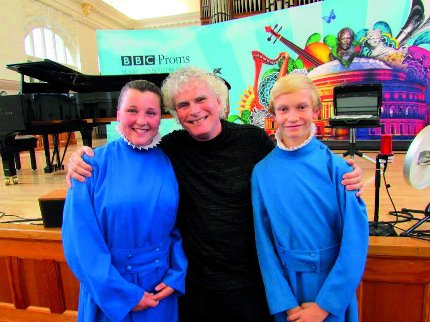 Meeting Sir Simon Rattle when the choristers sang at the BBC Proms