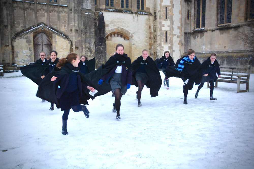 The girl choristers having fun in the snow!