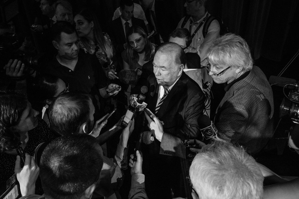 Boren responds to questions from members of the press immediately following his announcement.