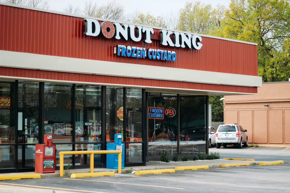 The Donut King shop on Lindsey Street in Norman is open 24 hours a day. Formerly a Dunkin' Donuts, the shop has been a town fixture since the 1970s.