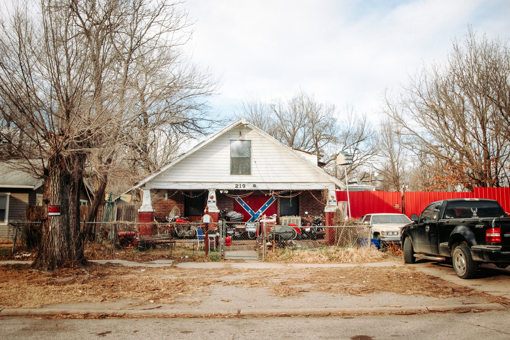 A Confederate flag is painted on the doors of a house in south Oklahoma City.