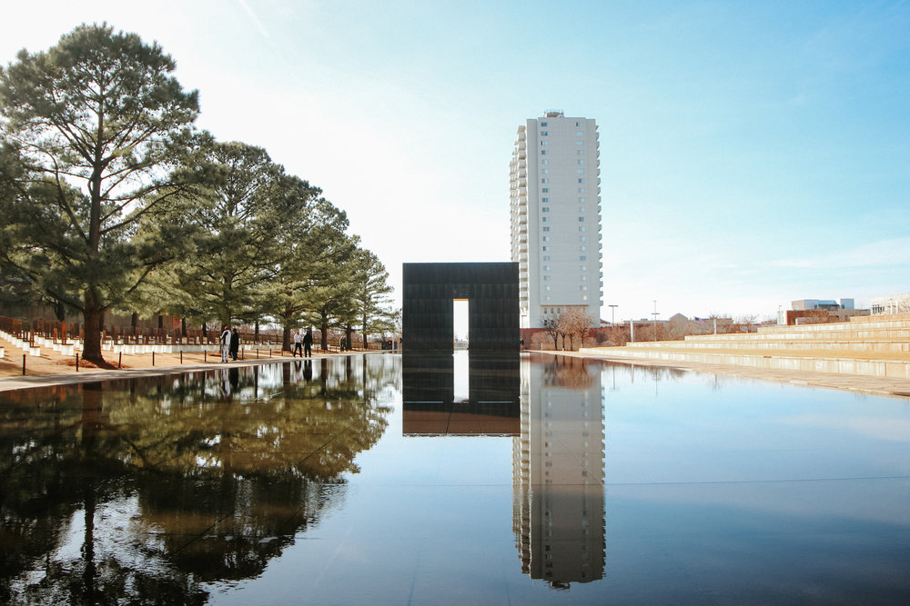 Reflection pools at the Oklahoma City National Memorial.