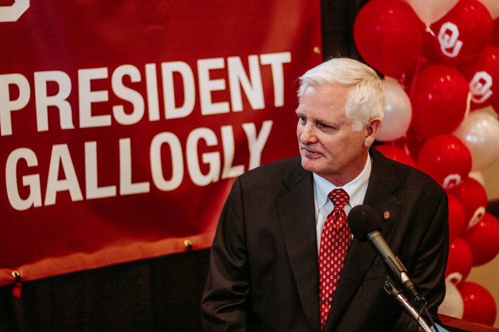 Gallogly responds to questions from members of the press immediately following his announcement.