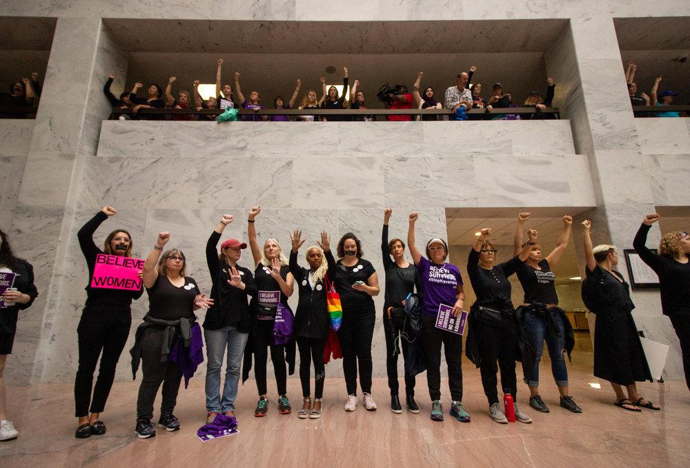 Demonstrators in the Hart Senate Office Building.