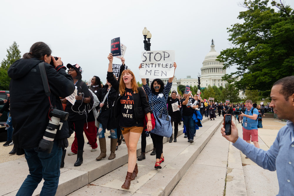 Protesters march from the Capitol Building to the National Mall while Christine Blasey Ford and Judge Brett Kavanaugh delivered testimonies before the Senate Judiciary Committee.