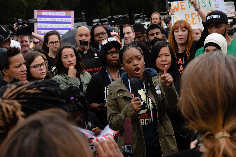 Tamika Mallory, co-president of the Women's March organization, speaks to protesters on the National Mall.