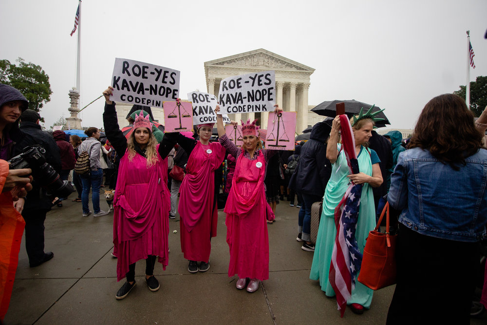 Protesters outside the Supreme Court.