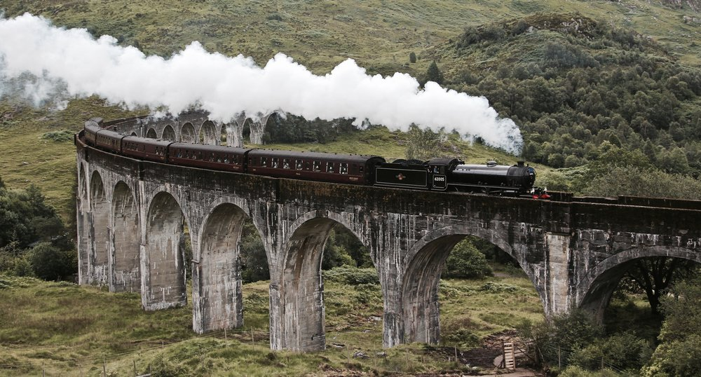image source: https://commons.wikimedia.org/wiki/File:A_Scottish_Adventure-_The_Jacobite_over_Glenfinnan_Viaduct.jpg