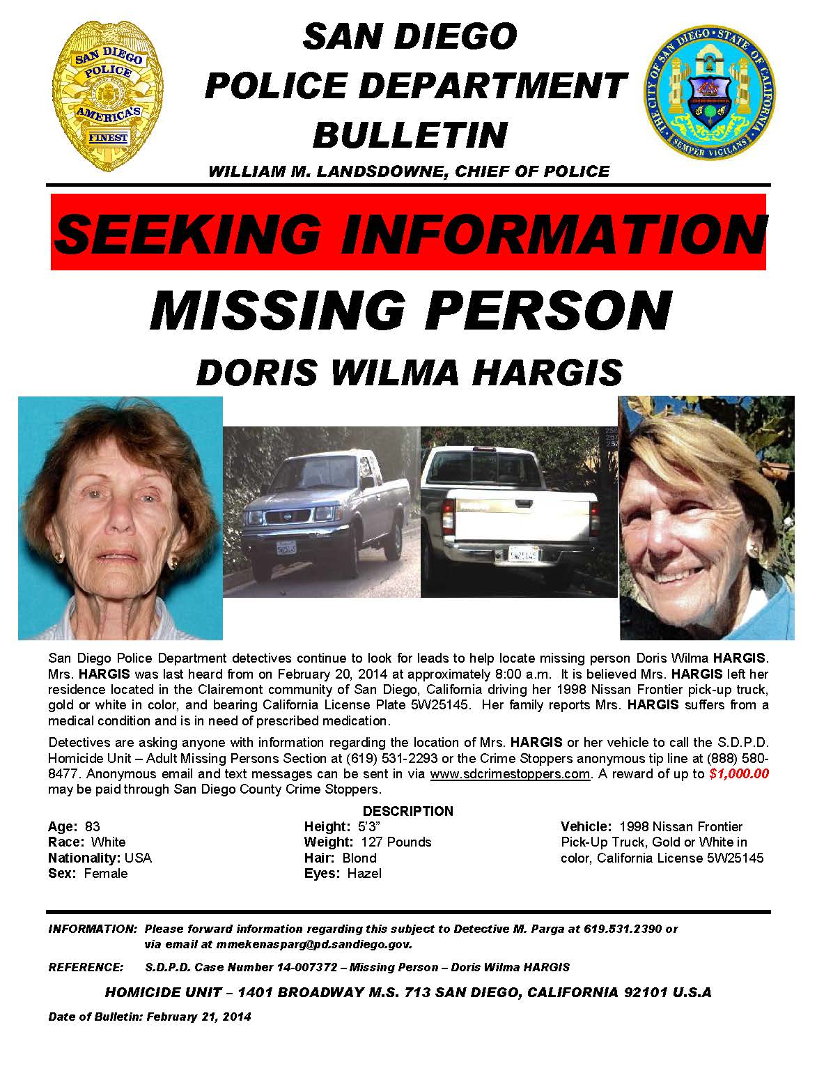 Bulletin - S.D.P.D. Case Number 14-007372 - Missing Person - Doris Wilma HARGIS - February 21, 2014