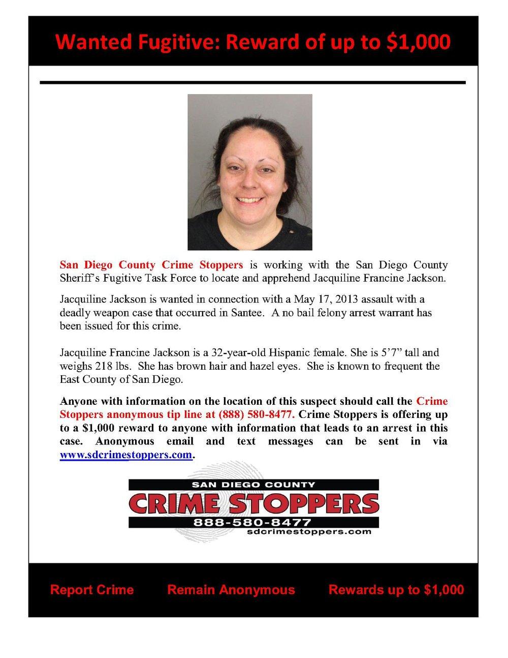 072814 Fugitive Jacquiline Francine Jackson_1