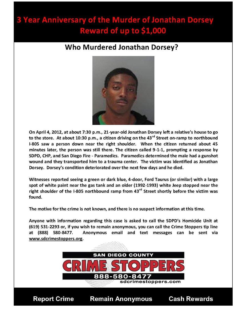 3 Year Anniversary of Jonathan Dorsey Murder
