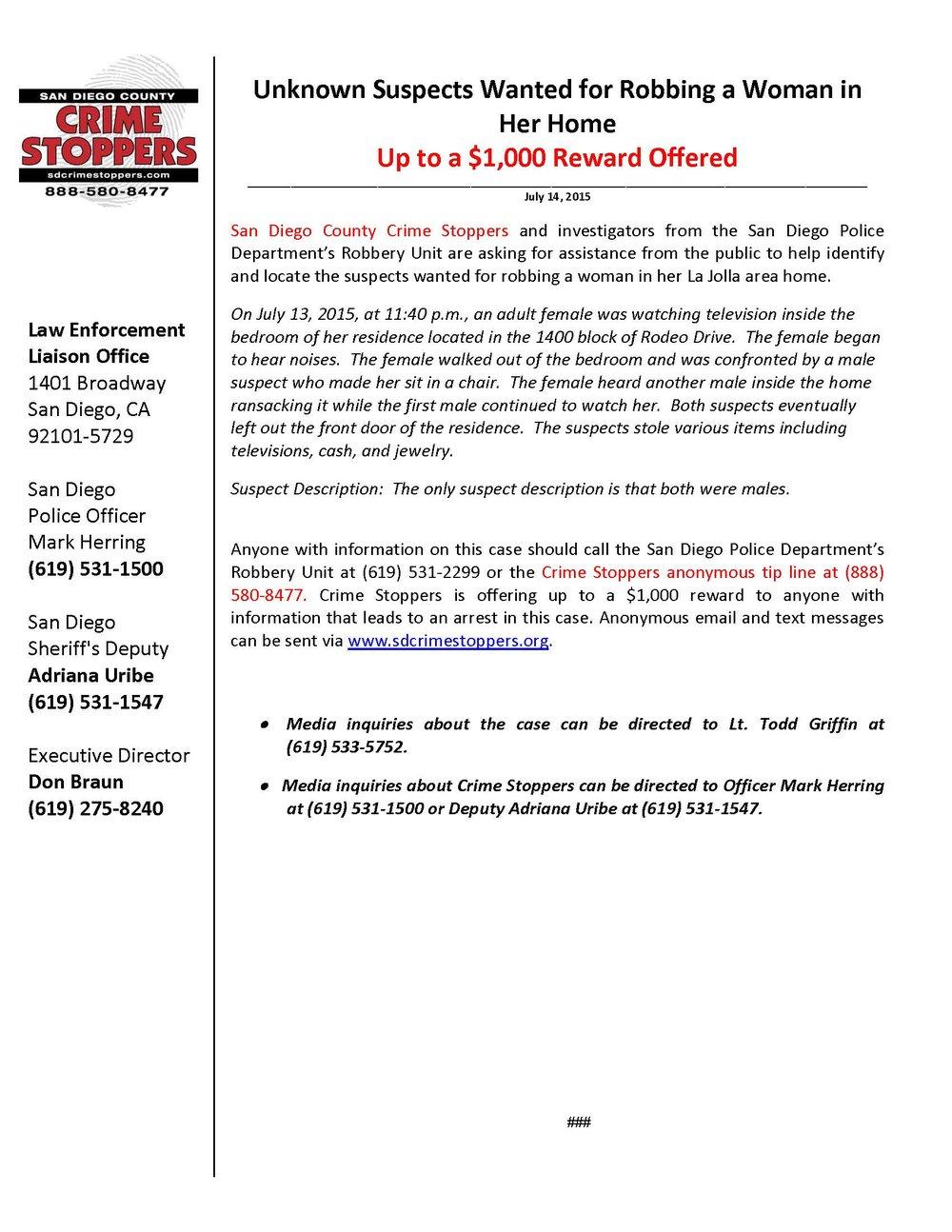071415 La Jolla Area Residential Robbery