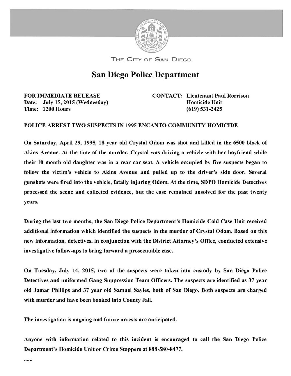 Press Release 7-15-15 Odom Cold Case arrests_1
