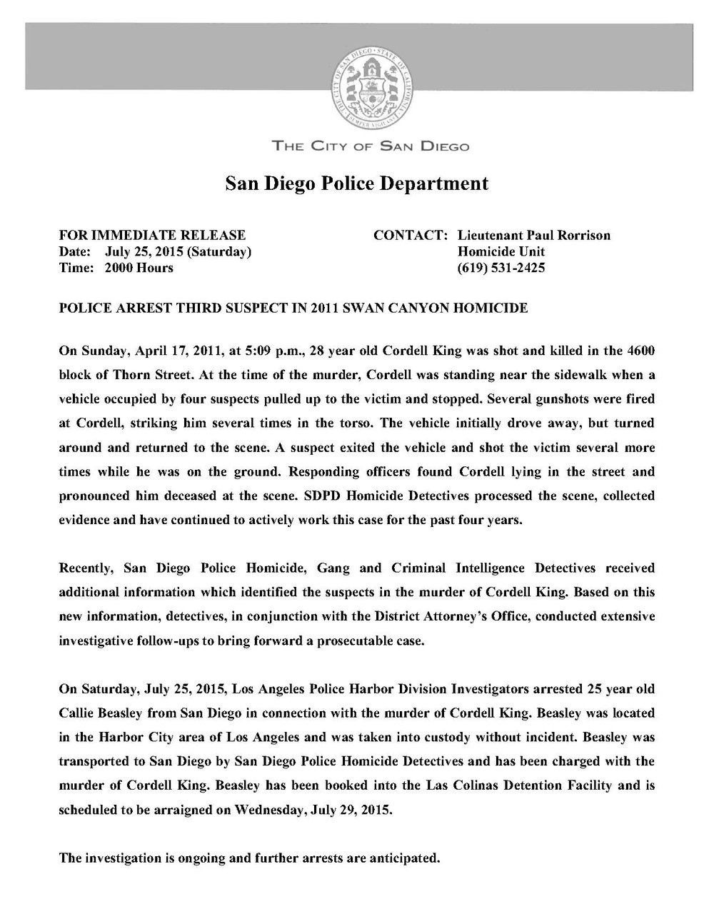 Press Release 7-25-15 Cordell King 187 arrest beasley_1