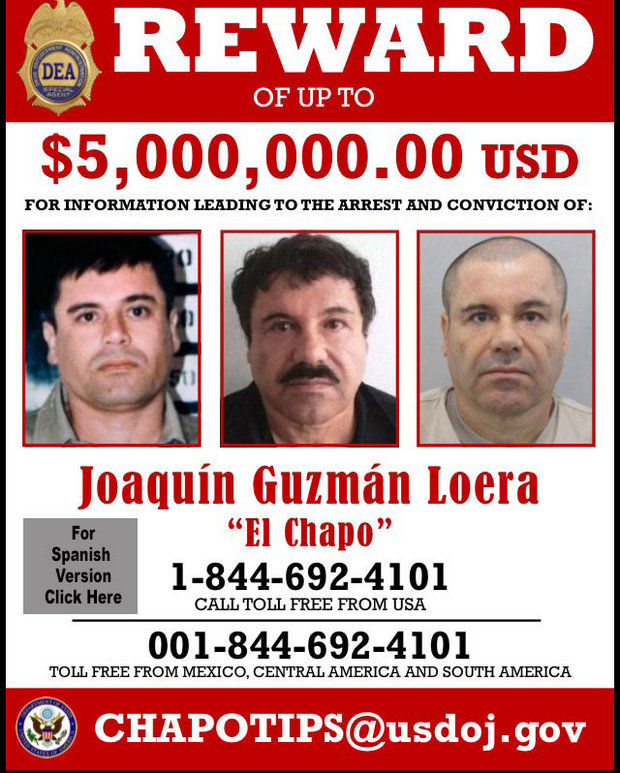 DEA ANNOUNCES TIP LINE WANTED POSTER FOR CHAPO